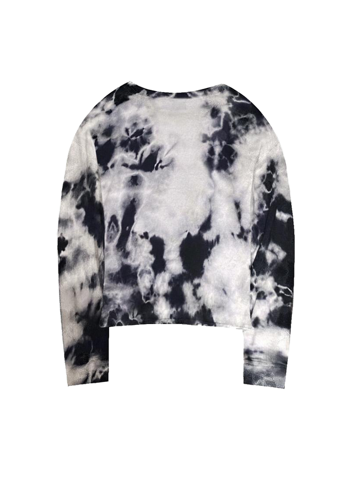 Tie Dye Thermal Long Sleeve - White/Black