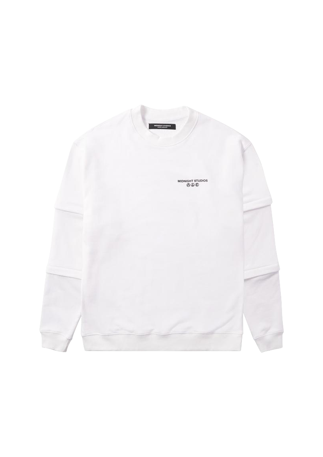 Layered Logo Crewneck - White