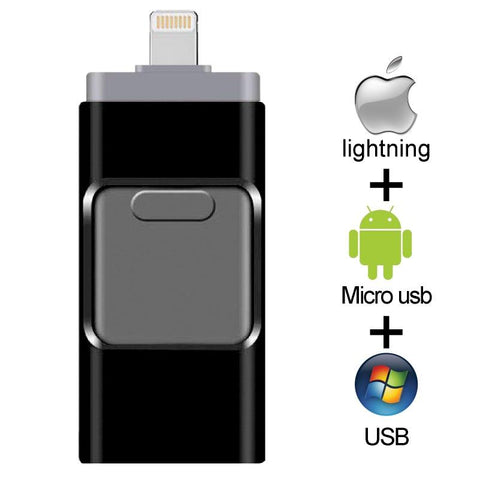 Portable USB 3 in 1 Flash Drive - Blue Tag Shop