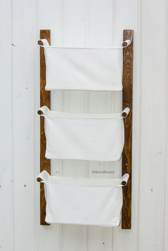 Minimalist white wall hanging organizer with fabric bins (more colours)