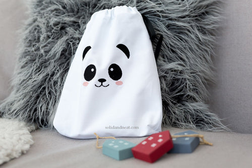 Panda face eco friendly canvas toy bag for kids | SET of 3 bags
