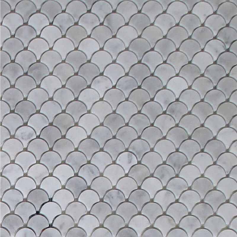 White Carrara WaterJet Mosaic Petite Design
