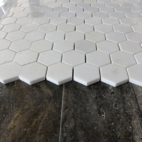 "Thassos Hexagon 2"" Polished Mosaic"