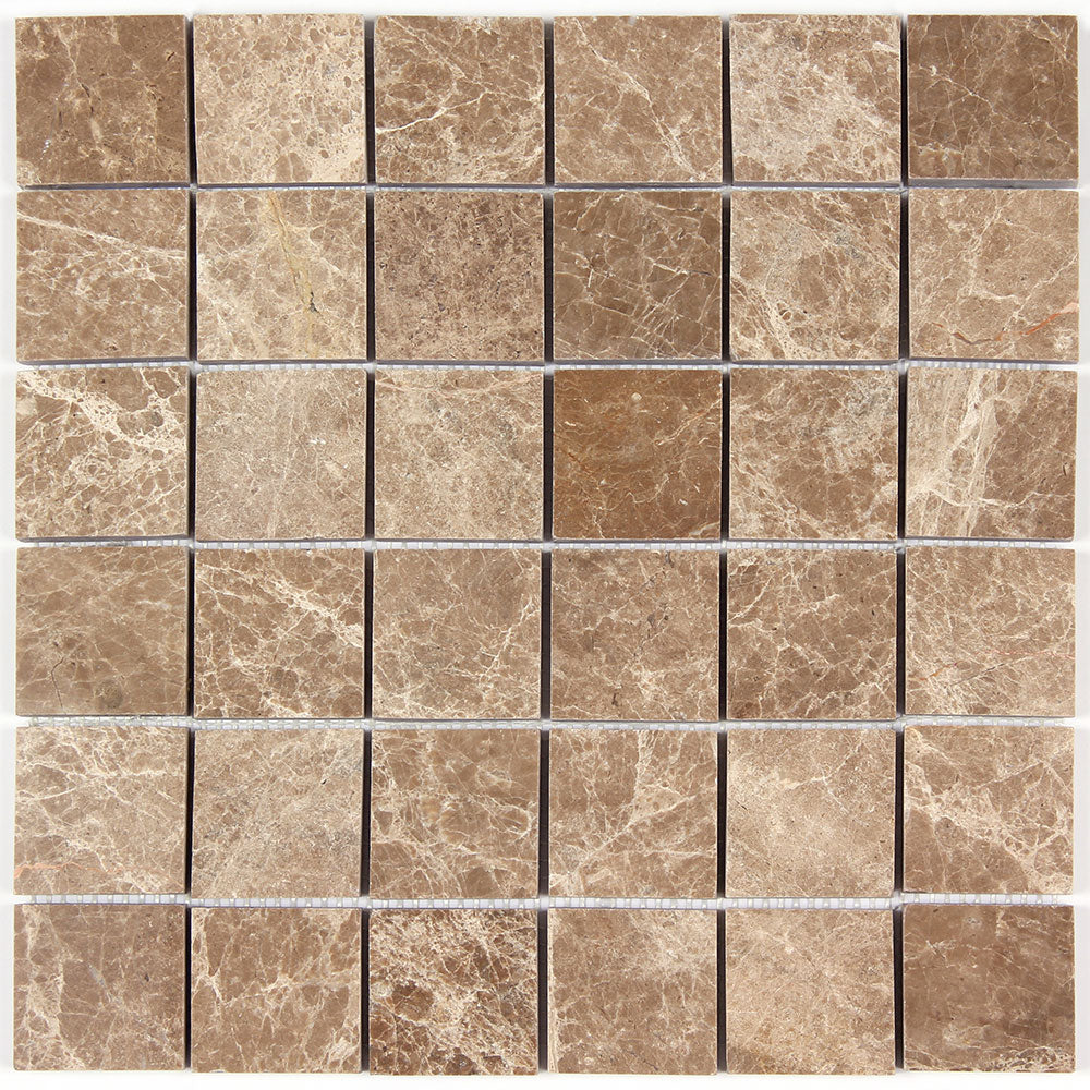 Light Emperador Marble 2x2 Polished Square Mosaic