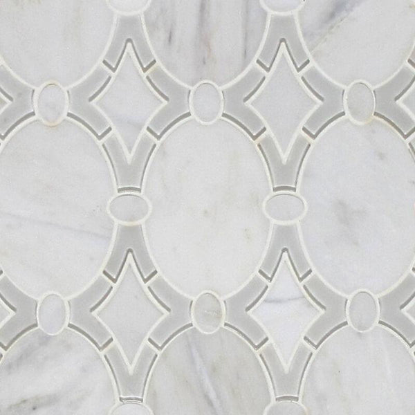 Antique Arabescato and Gray Glass Clear Waterjet Mosaic