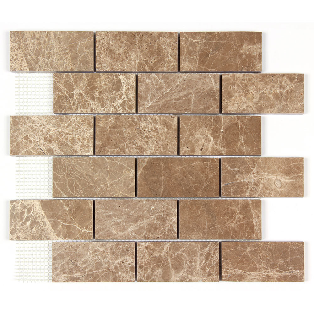 Light Emperador Marble 2x4 Polished Square Mosaic