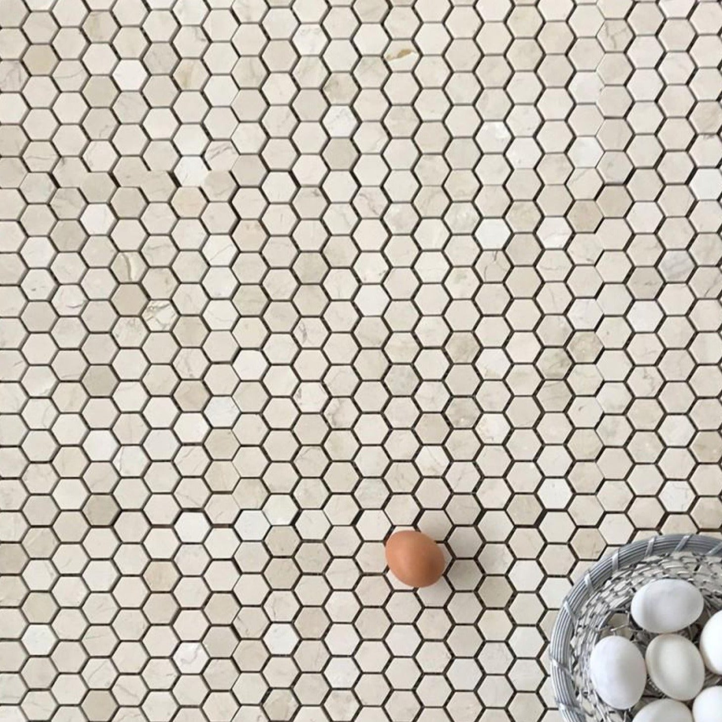 "Crema Marfil Hexagon 1"" Polished Mosaic"