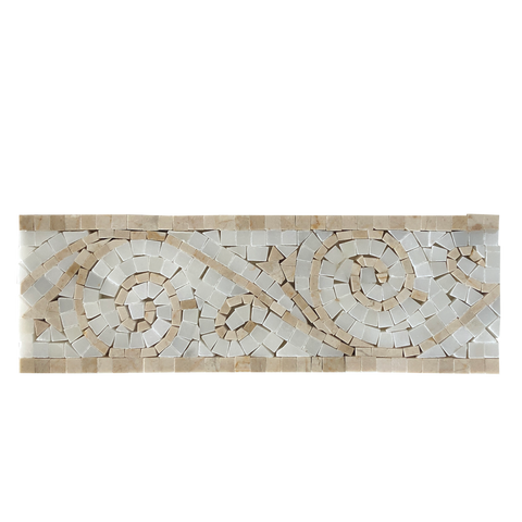 crema marfil and pure white marble art border polished