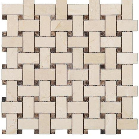 Crema Marfil Polished Marble Basketweave With Dark Emperador Dots