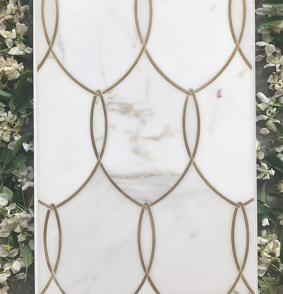 Gentle Net Calacatta and Brass Luxury Waterjet Mosaic