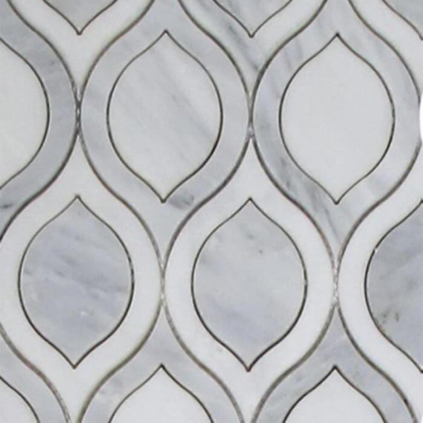 Arabescato Tear Drop and Pure White Waterjet Mosaic Tile