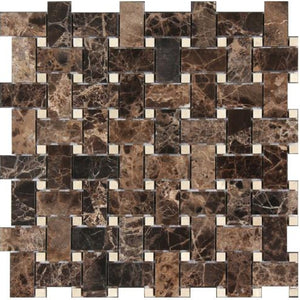 Dark Emperador Marble And Crema Marfil Dot Basketweave