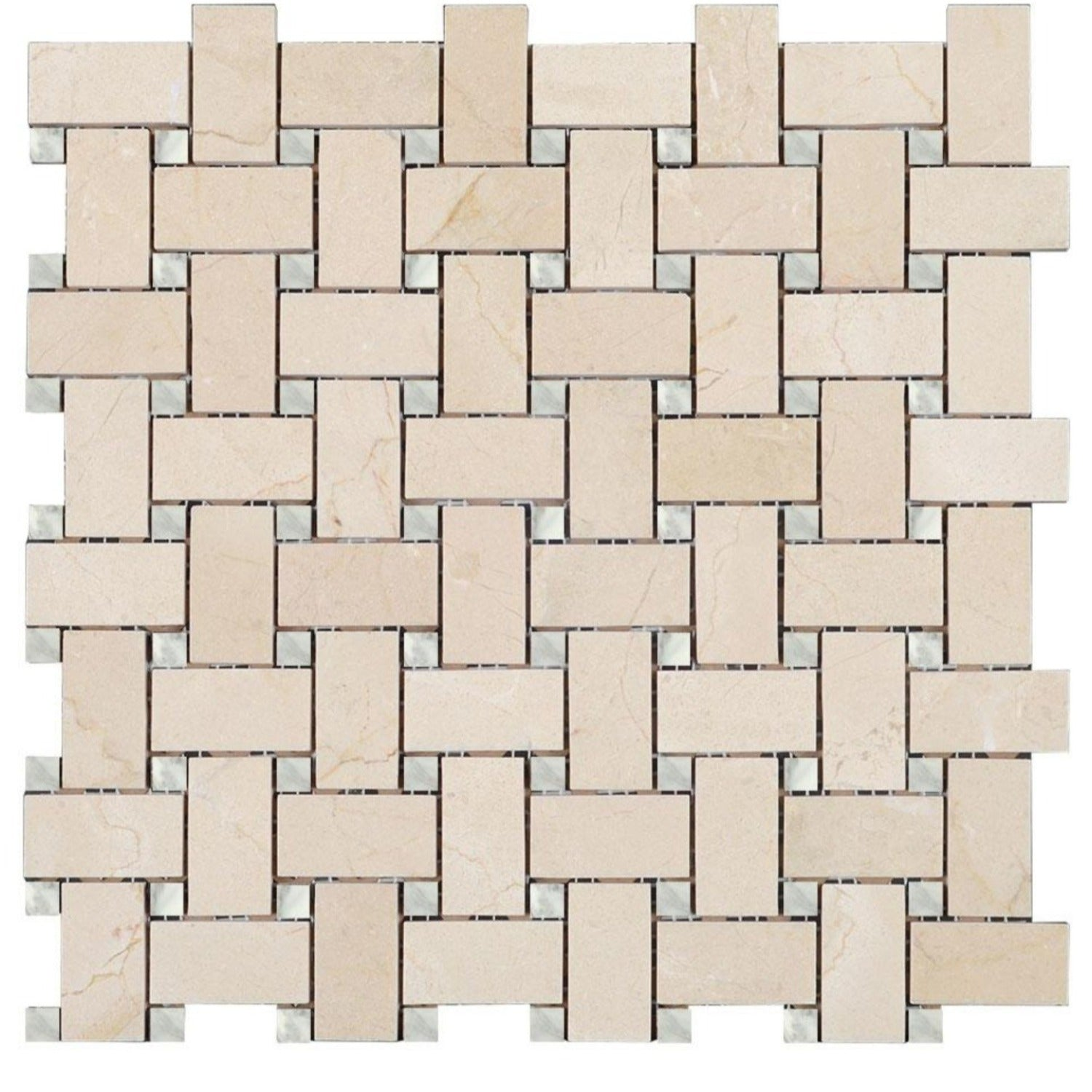 Crema Marfil Polished Marble Basketweave With White Carrara Marble Dot