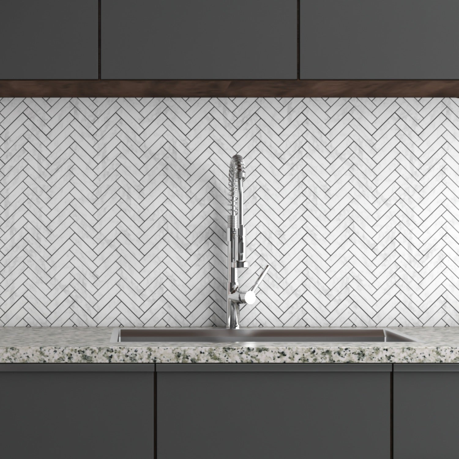 ALICHA WHITE HERRINGBONE MOSAIC