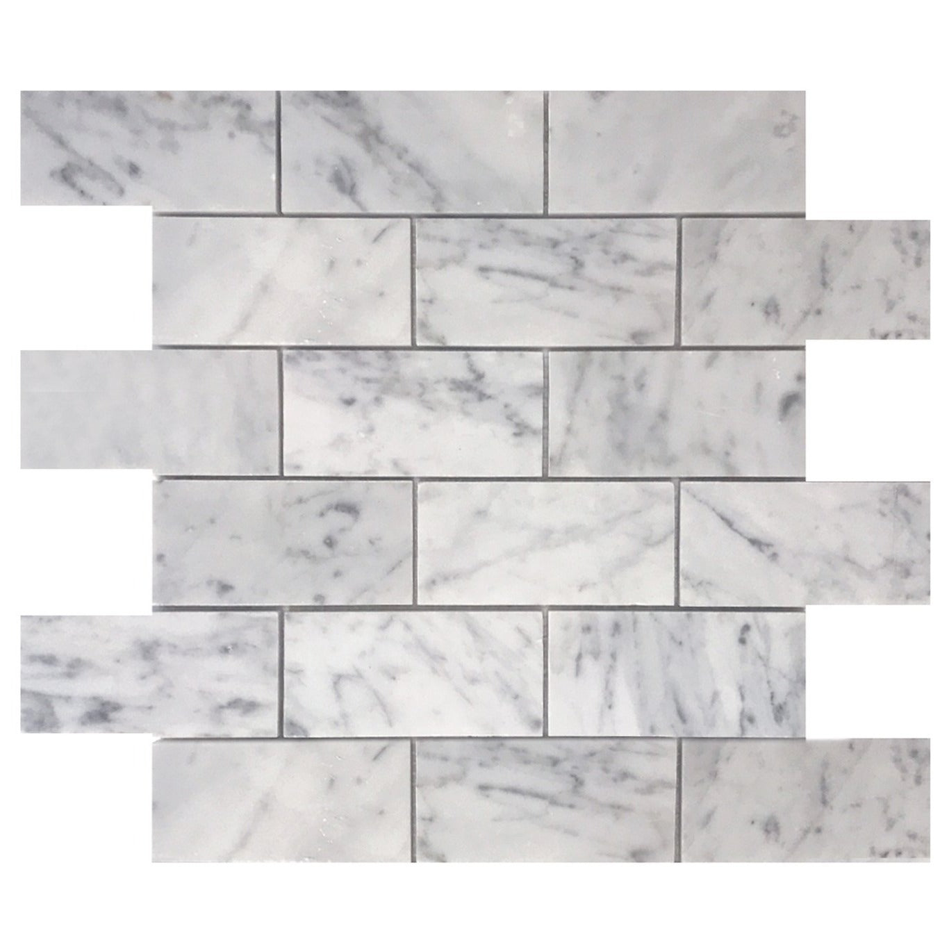 Bianco Carrara 2x4 Polished Marble Brick Mosaic Tile