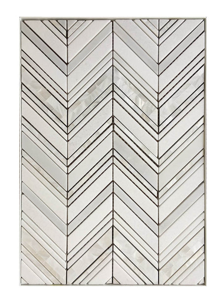 Chevron Thassos, Pure White and Mother of Pearl Luxury Waterjet Mosaic