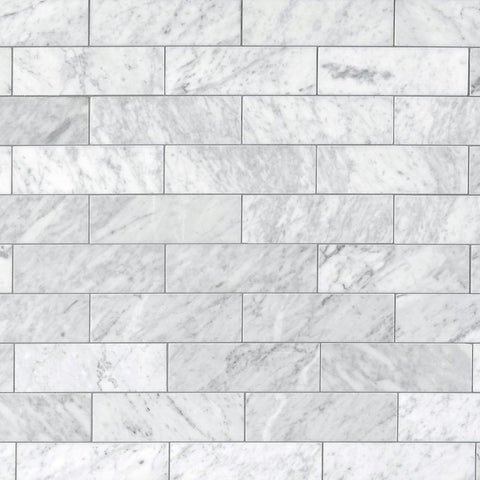 Bianco Carrara 3x9 Polished Marble Tiles