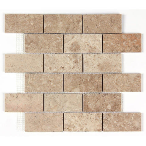 Cappuccino Polished Marble 2x4 Brick Mosaic Tile