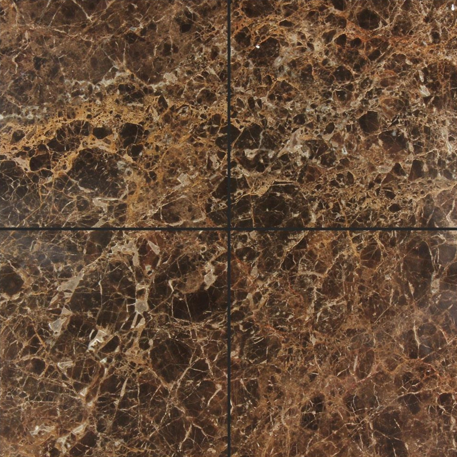 Dark Emperador 6x6 Polished Marble Tile