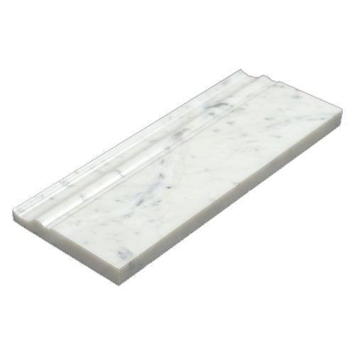 Bianco Carrara Honed and Polished Marble 5x12 Base Moulding