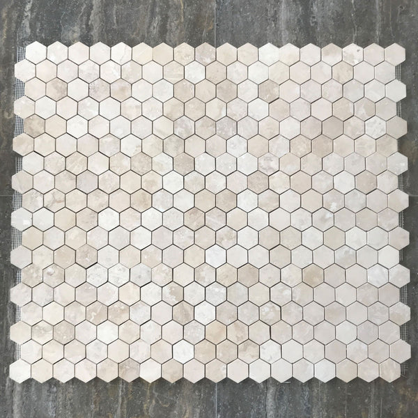 "Light Travertine Hexagon 2"" Polished Mosaic"