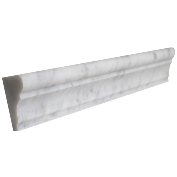Arabescato Carrara Marble 2x12 Honed / Polished Crown Chair-Rail Moulding