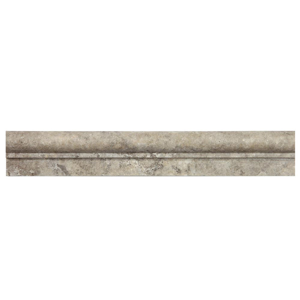 Silver Travertine Honed Ogee-1 Crown Chair Moulding 2x12