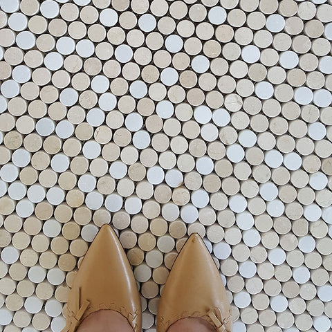 Thassos White and Crema Marfil Marble Mix Penny Round WallandFloor Mosaic