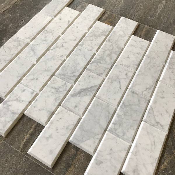 Bianco Carrara 3x6 Big Beveled Marble Tiles
