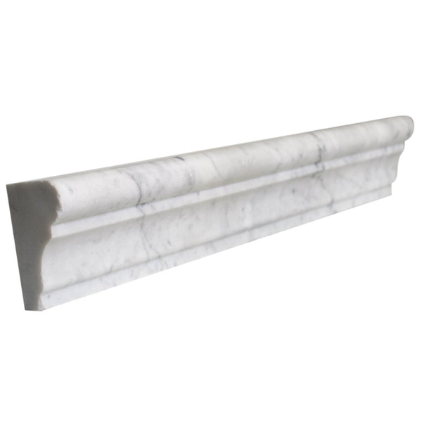 Bianco Carrara Marble 2x12 Crown Chair-Rail Moulding