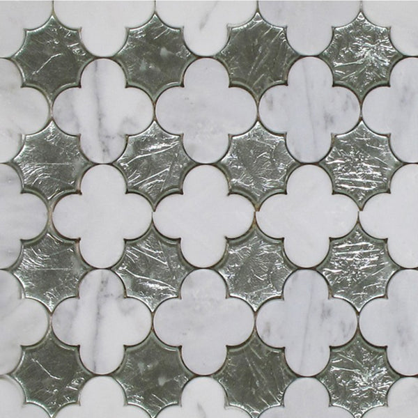 Arabescato Silver Glass And Stone Water Jet Mosaic