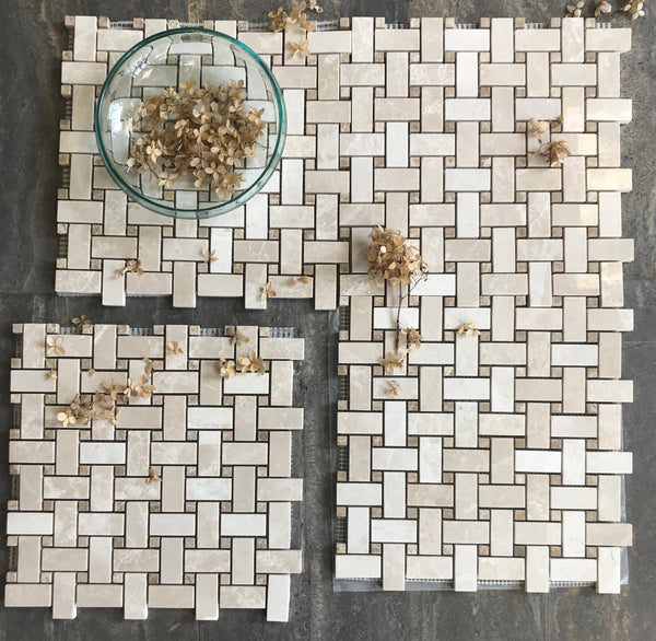 Botticino Polished Marble Basketweave Mosaic With Light Emperador Dots
