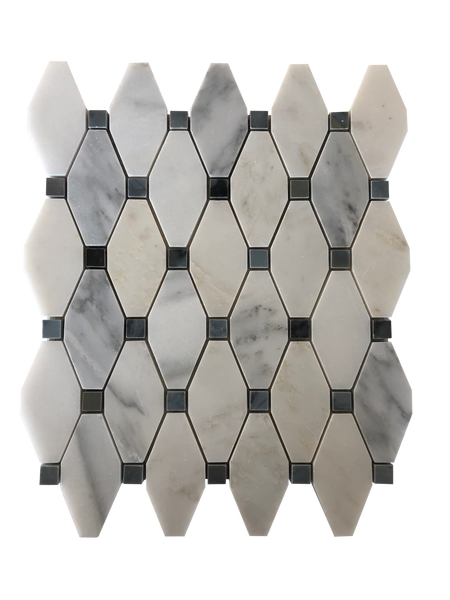 Elongated Octagon Waterjet Mosaic With Bianco Carrara & Blue Stone Dot