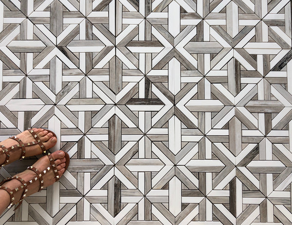 Karo Waterjet Mosaic With Dolomite & Palissandro Polished