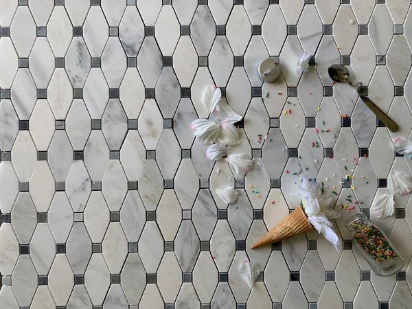 Elongated Octagon Waterjet Mosaic With Dolomite & Ocean grey Dot