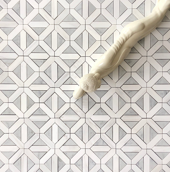 Cross Waterjet Mosaic With Dolomite & Carrara