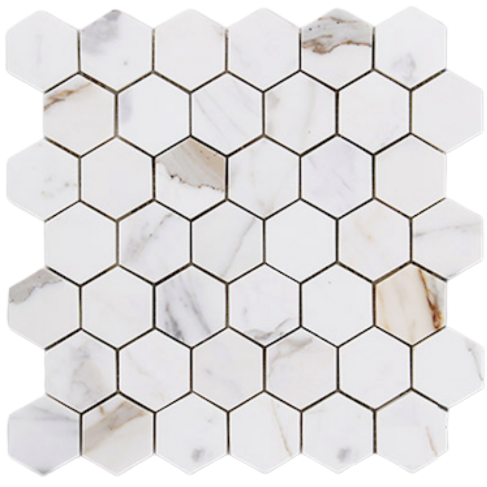 "calacatta hexagon 2"" mosaic"