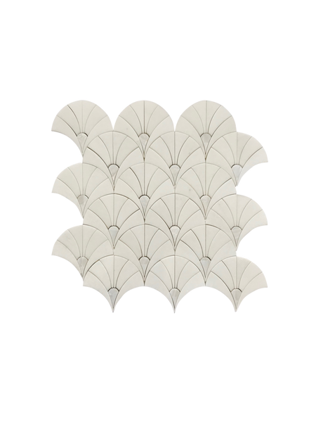 Fan Waterjet Mosaic Carrara Thassos and Mother of Pearl