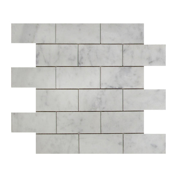 Bianco Carrara 2x4 Big Beveled Marble Brick Mosaic Tile