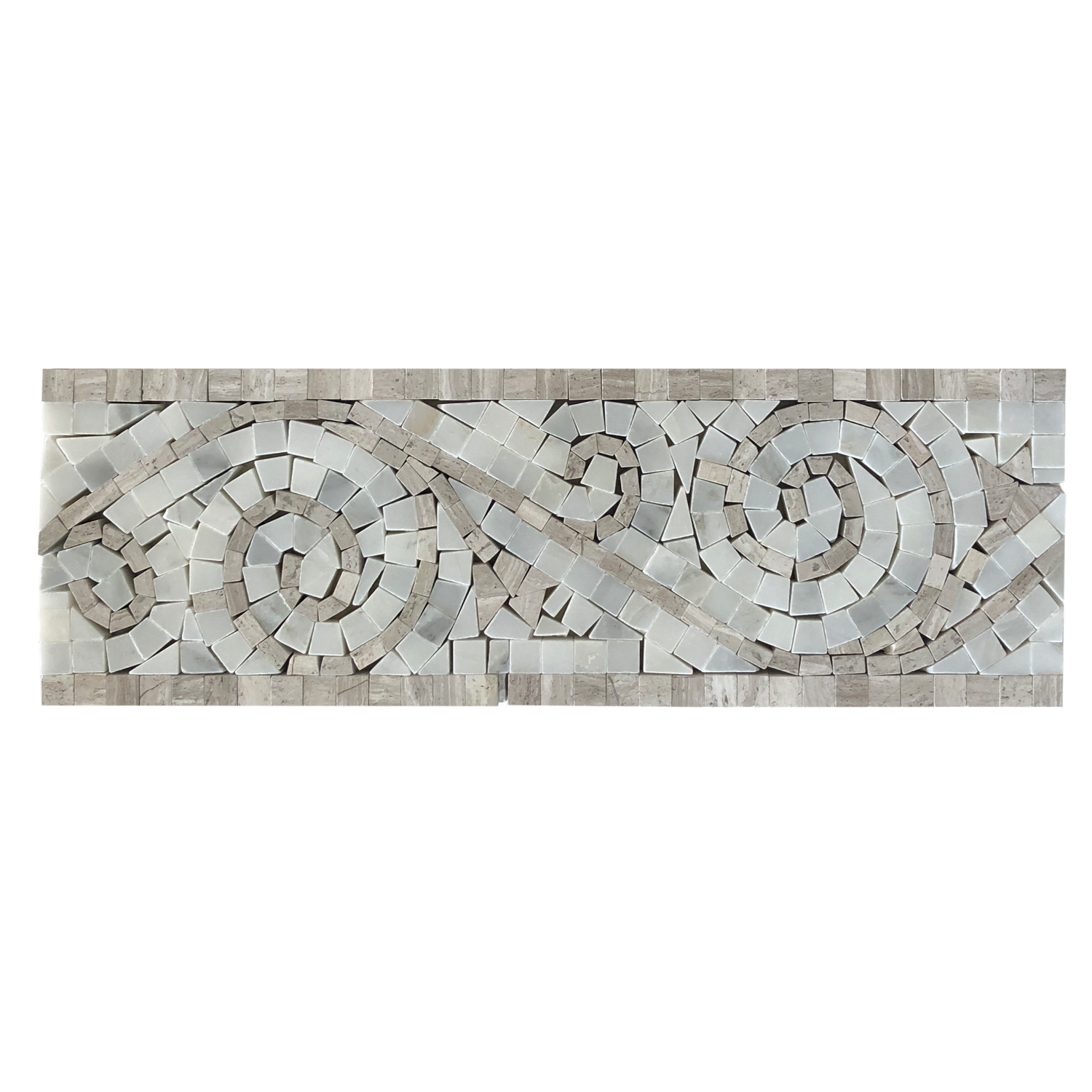 oyster grey and arabescato marble art border polished