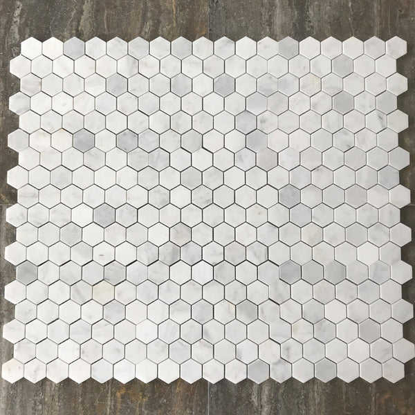 "Imperial Carrara Hexagon 2"" Polished Mosaic"