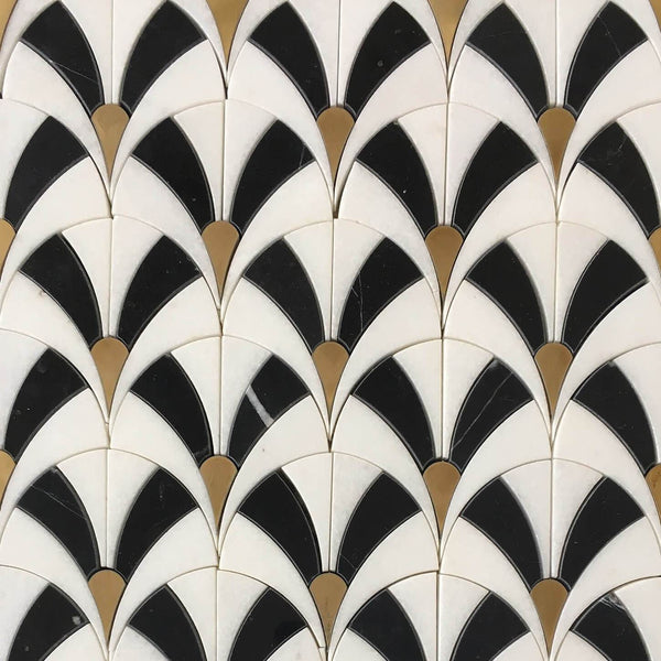 Fan Waterjet Mosaic Thassos and Mother of Pearl