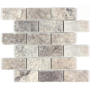Silver Travertine Tumbled 2x4 Mosaic Tile