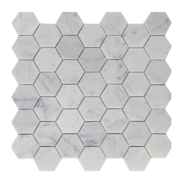 Bianco Carrara 2 Inches Marble Honey Comb Mosaic Tile