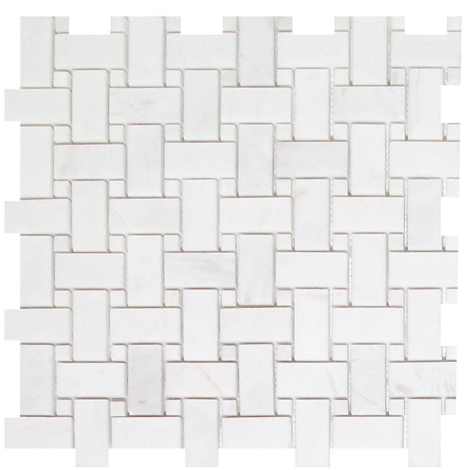 Dolomite Basketweave With Dolomite Dot 12x12 Tile