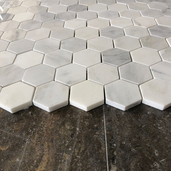 "Arabescato Carrara Marble 2"" Hexagon Honed / Polished Tile"