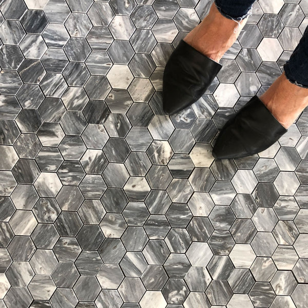 "Bardiglio Hexagon 2"" Polished Mosaic"