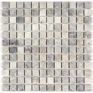 Silver Travertine Tumbled 1x1 Mosaic Tile