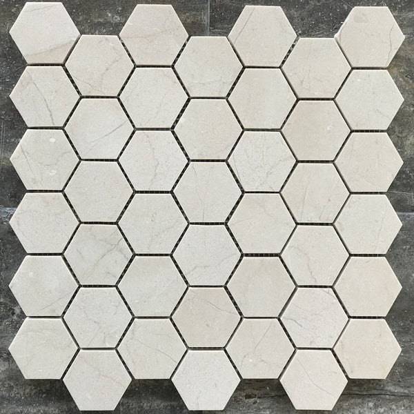 "Crema Marfil Hexagon 2"" Polished Mosaic"