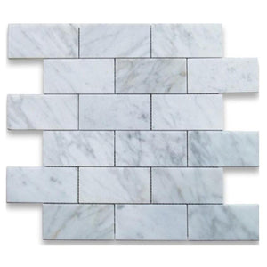 Arabescato Carrara Polished Marble 2x4 Brick Mosaic